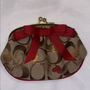 Coach Small Red Bow Coin Wallet